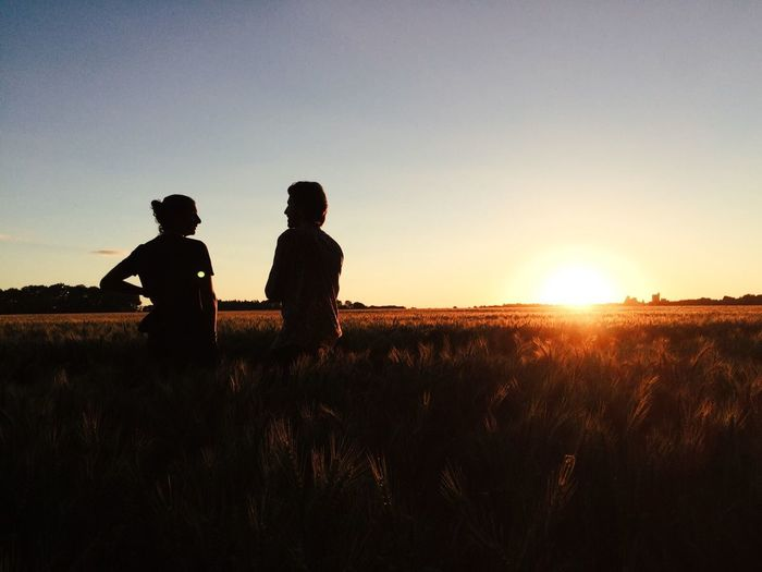 Beauty In Nature Clear Sky Day Field Friendship Grass Growth Landscape Leisure Activity Lifestyles Men Nature Outdoors Real People Rear View Scenics Silhouette Sky Standing Sunlight Sunset Togetherness Tranquil Scene Tranquility Two People