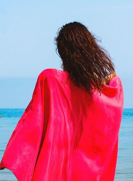 Spring break Girl Red Spring Summer Summer Exploratorium Water Young Women Red Headshot Standing Sky Sand Beach Holiday