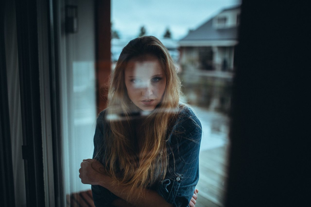 one person, window, young adult, standing, real people