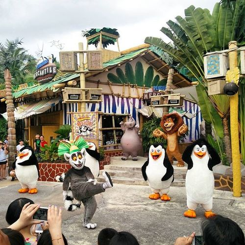 King Julian kicking it off in style!! Universalstudios Sentosa Singapore Madagascar  Julian ThePenguins Iliketomoveitmoveit :-D
