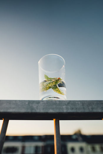 Low angle view of a glass against the sky