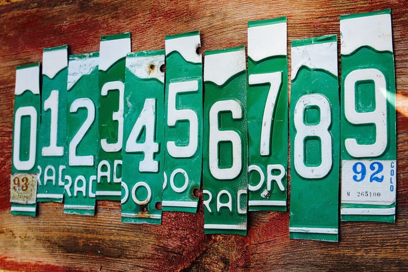 1 To 9 Alphabet Car Tags Communication Counting Counting Numbers License Plates No People Numbers Numbers . Numbers Only Outdoors Sequence Sequential Text White And Green