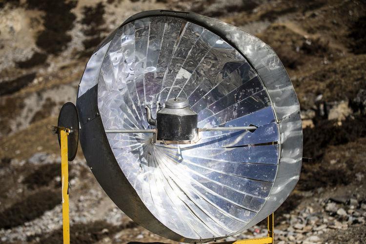 High angle view of abandoned wheel