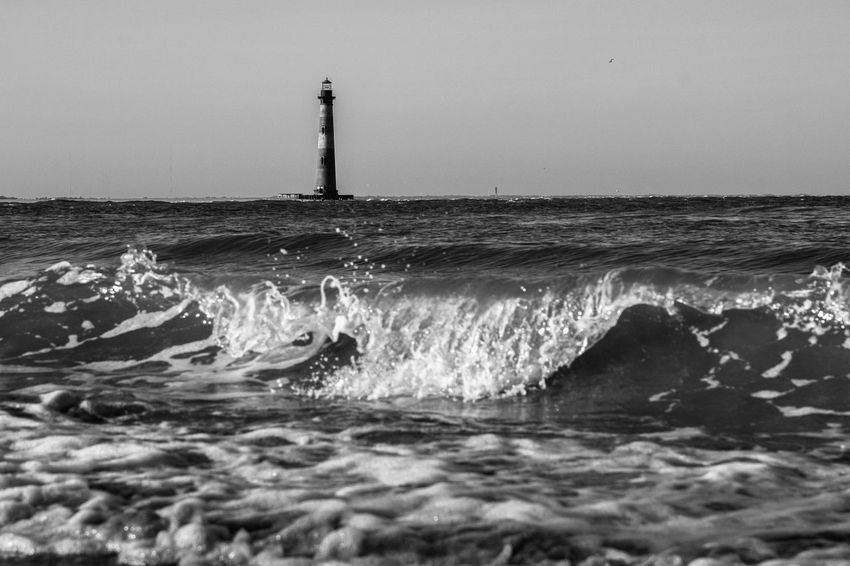 Sea Water Lighthouse Wave Nature Horizon Over Water No People Beach Outdoors Scenics Beauty In Nature Folly Beach Charleston SC