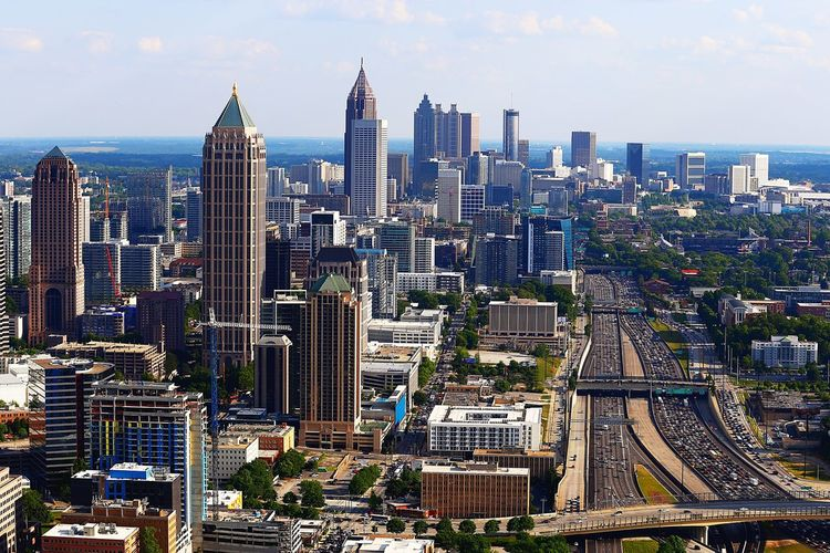 Atlanta's skyline Building Exterior Built Structure Architecture City Cityscape Office Building Exterior Building Skyscraper Tall - High Modern Tower Crowded Urban Skyline Travel Destinations Crowd Outdoors Financial District  Sky
