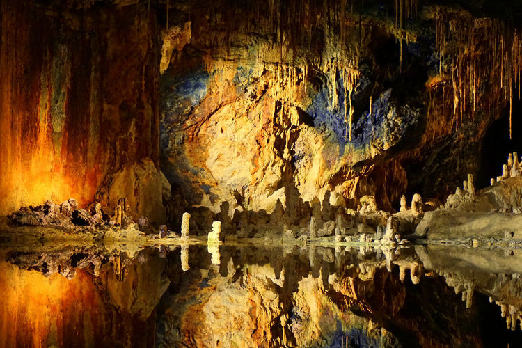 Fairies Grottoes Feengrotten Beauty In Nature Cave Caves Eroded Geology Grottoes Indoors  Lake Nature No People Reflection Rock Rock - Object Rock Formation Solid Stalactite  Standing Water Symmetry Textured  Textured Effect Tranquility Water Waterfront