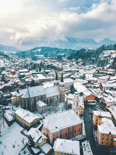 Berchtesgaden München Bayern, Germany Munich EyeEm Selects Cloud - Sky Sky Architecture Built Structure Building Exterior City Building Landscape Winter Outdoors Cold Temperature Cityscape High Angle View