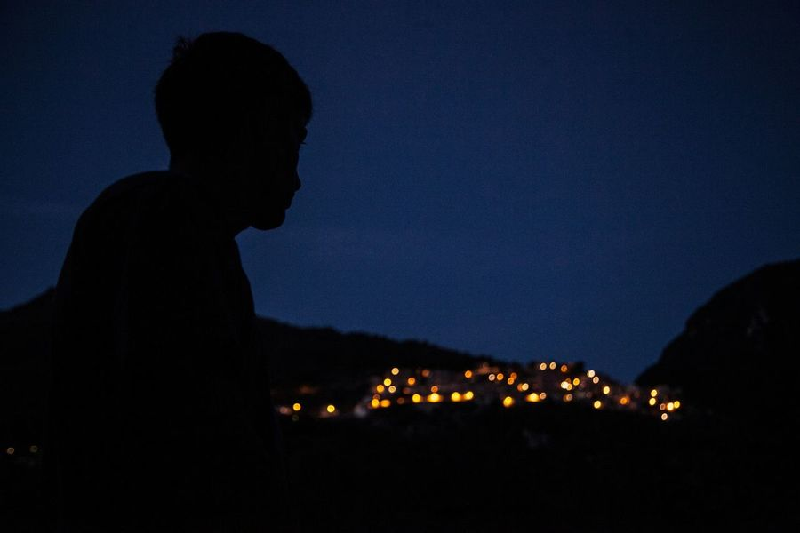 Night Light Silhouette Profile Peoplephotography People Nature Bushcraft Lago Del Turano Creative Light And Shadow Blue Wave
