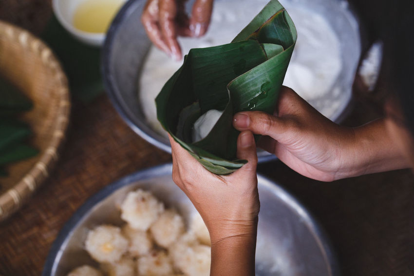 Steamed Sticky Rice Cake with Coconut Filling ASIA Bamboo Banana Leaf Bánh Ít Basket Cake Coconut Cone Flour Hand Make A Cake Oi Steam Steamed Sticky Rice Cake Sweet Food Traditional Culture Vietnam Vietnamese Cake Vietnamese Food Recipes