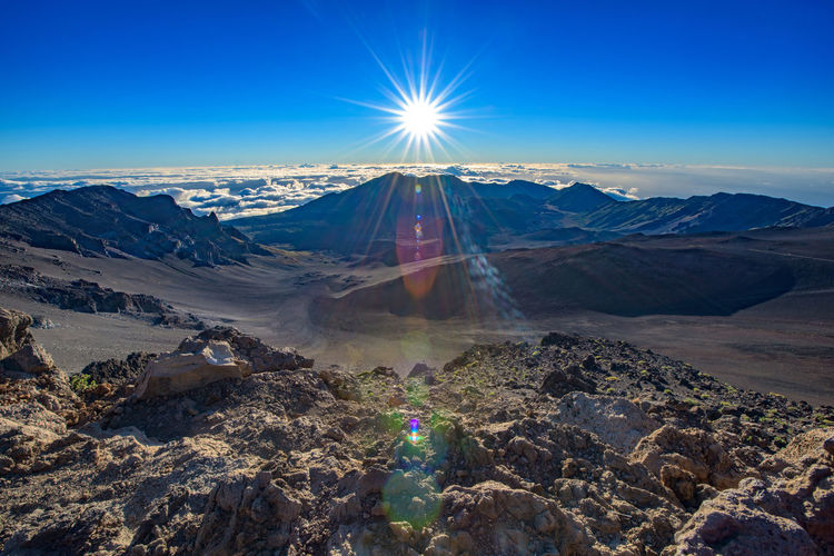 Sun Shining Over Mountains At Haleakala Crater