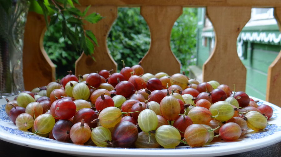 Close-Up Of Ripe Gooseberries In Plate