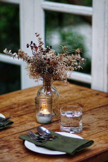 Dinner Glass Fork Spoon Wooden Table Flower Flower Head Table Vase Wood - Material Salt Shaker Flower Arrangement Close-up Lavender In Bloom Blooming Plant Life