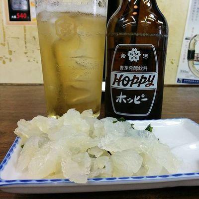 くらげ刺でホッピー♪ Drinking Hoppy 酒場 キンミヤ Jellyfish