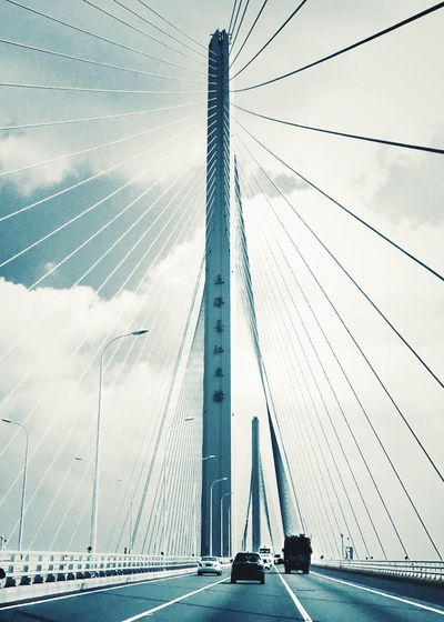 Crossing the bridge Bridge Over The Yangzi River Architecture Connection Bridge - Man Made Structure Suspension Bridge Day Sky Clouds And Sky On The Road