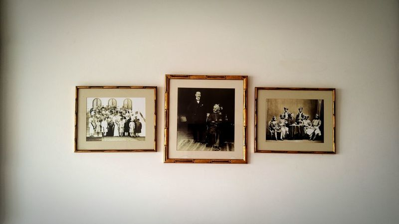 Picture Frame Art And Craft Arts Culture And Entertainment Indoors  Adult People Travel Destinations Throwback Old Heritage Hotel Room Wall Antique Historic Black And White Gone Days Photo Frames Royalty Maharaja