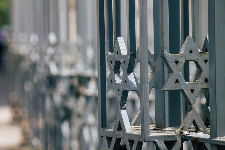 Close-up of metal gate