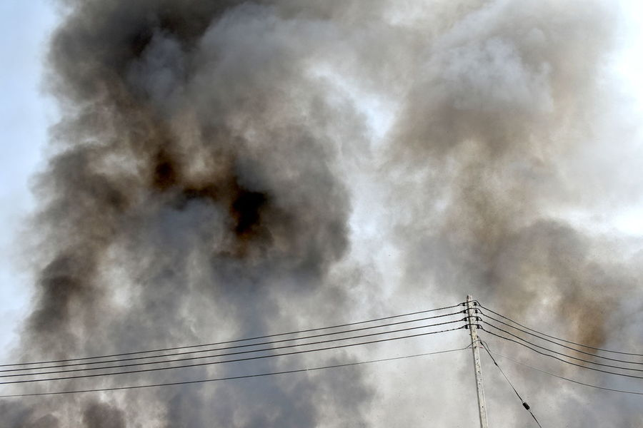 Air Pollution Environmental Disaster Pullution Thick Smoke From Fire White Smoke Dangerous Smoke Gray Smoke Grayish White Smoke From Sugar Cane Plantation Fire Sunny Blue Sky