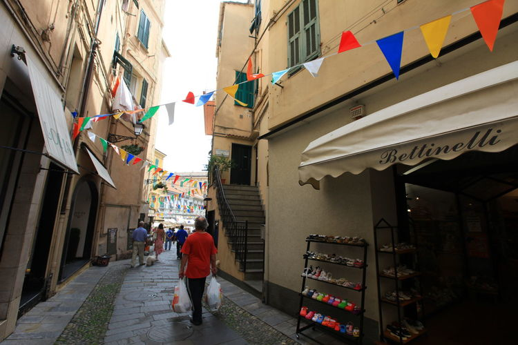 San Remo, Italy San Remo Architecture Building Exterior Built Structure Bunting Day Flag Hanging Italy Men Outdoors Real People Women