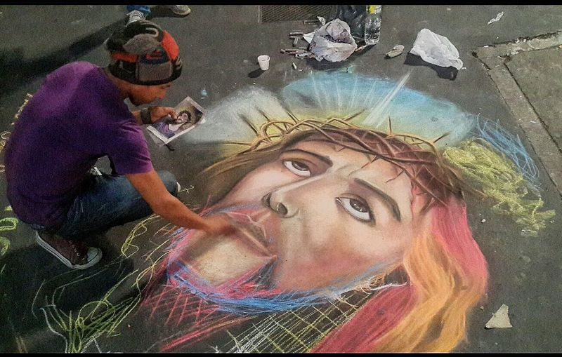 If he was a graduate of Havard with a little talent; life would probably be a lot better. He could not afford canvas to paint on, so he paints on the streets floor so that tourist passing could see and drop some coins. The Human Condition Gifted Hustle Startwithwhatyouhave