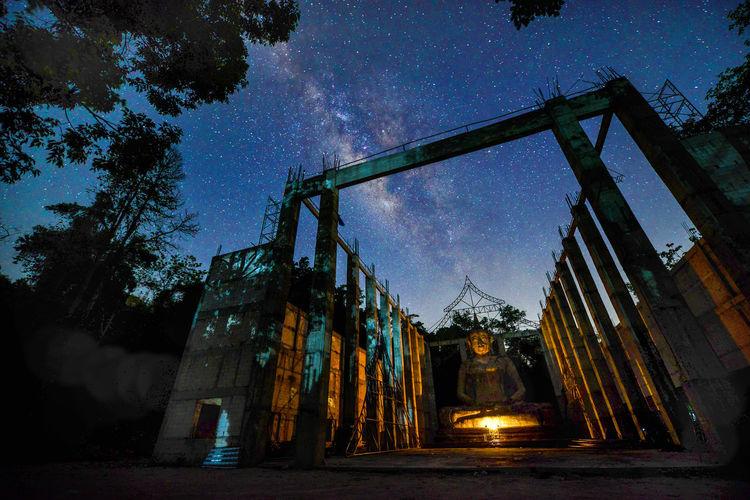 The Milky way over beautiful at wat pasawangboon ,Saraburi, Thailand Architecture Astronomy Building Exterior Built Structure Low Angle View Milky Way Galaxy Night No People Outdoors Pasawangboon Saraburi Sky Star - Space Temple Tree