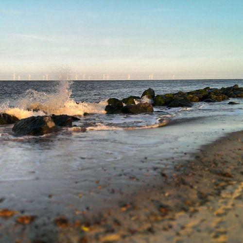Caister Caisteronsea Seaside Sand rocks tide sky blue bluesky beach htcone htc1 springevening spring waves sea spray splash coast coastline