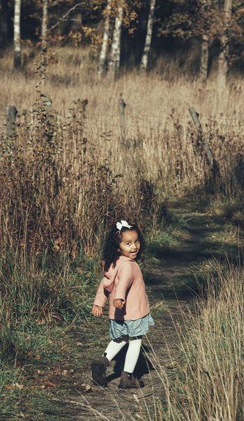 Niklas Storm Okt 2018 Girl Preschooler Autumn Collection Autumn Childhood Child Full Length Shadow Sunlight Field Grass Fall Change Fallen Leaf Season  A New Beginning