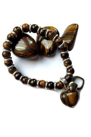 Bracelet Bracelets Close-up Fashion Gemstones Heart Shape Indoors  Jewellery Jewelry Necklace No People Pattern Semi Precious Stones Studio Shot Tiger Eye Tiger Eye Stone White Background