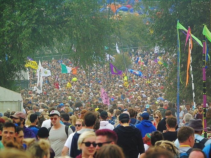 Group of people enjoying at music festival