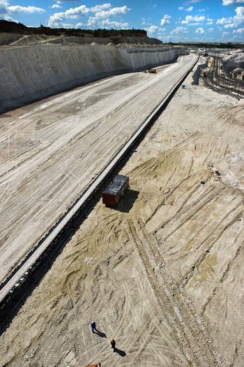 High Angle View Of Conveyor Belt At Mining Industry