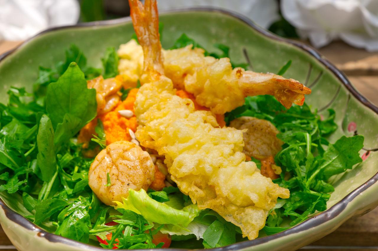 Close-Up Of Prawns Salad In Bowl