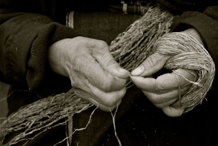 Basket Black And White Close-up Finger Weaving Fingers Holding Human Body Part Human Hand Indoors  Knitting Needle One Person People Real People Weaving Weaving Hands Wool