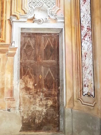 Architecture Built Structure Indoors  History No People Day Close-up Trompe-l'œil Church Interior Fake Door Affresco Wall Painting Old Building  Old Architecture Piedmont Italy Langhe