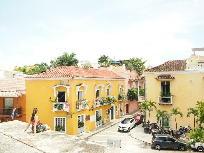 Cartagena Colonial Caribbean Colorful Travel Colombia City Tree Sky Architecture Building Exterior Built Structure Residential Structure Townhouse TOWNSCAPE Rooftop Old Town