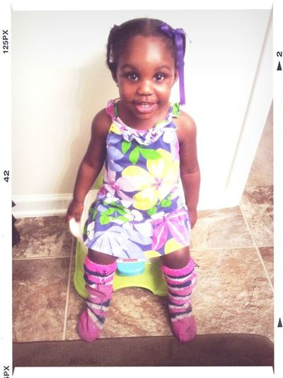 My Girl Didn't Go To School Today. She Look A Lot Mess. Wit My Mom Socks Girl.