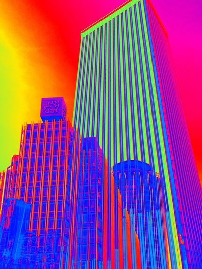 Striped Multi Colored Low Angle View Pink Color Pattern Abstract Modern No People Architecture Skyscraper Outdoors Building Exterior City