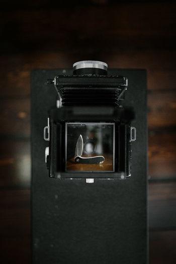 Close-up of camera in box