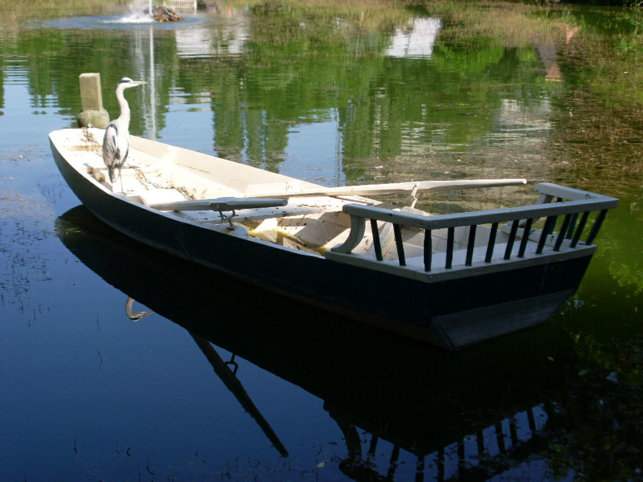 water, reflection, nautical vessel, outdoors, moored, day, nature, no people, lake, transportation, grass, beauty in nature