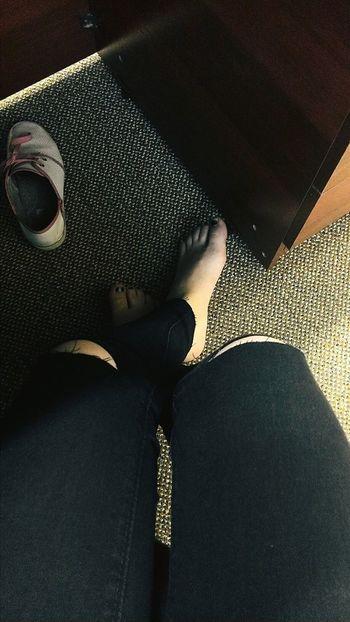 My Feets Bare Feet Feet Holey Pants Black Pants