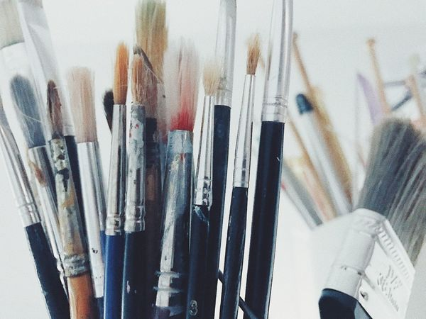 Large Group Of Objects Indoors  Variation Close-up Choice No People Day Focus On Foreground Painting Tools Objects Studio Indoor Tool Artist Materials Paintbrushes Paintbrush Indoors  Still Life White Background Painting Still Tools Artist Paint Colors