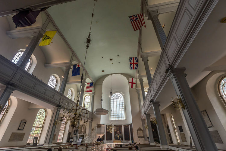 Old North Church Boston... Boston Church Old North Church Old North Church Boston USA America Arch Architecture Boston Church Built Structure Ceiling Church Architecture Churches Flag Flags Hanging Indoors  Inside Old North Church Low Angle View Massachusetts Old Buildings Place Of Worship Real People Religion Spirituality
