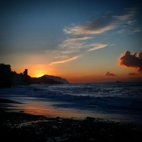 Beach Beauty In Nature Cielo Genova Horizon Over Water Mare Orange Color Outdoors Romantico Scenics Sea Silhouette Sky Sturla Sunset Tramonto Tranquil Scene Water Wave