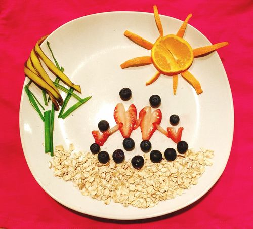 A happy family Oats Fruits Vegetable Strawberry Blueberry Banana Skin Green Onion Orange Plate Napkin Home Is Where The Art Is House Tree Sun Colour Of Life Eyeemphoto Two Is Better Than One Two Adults Two Kids