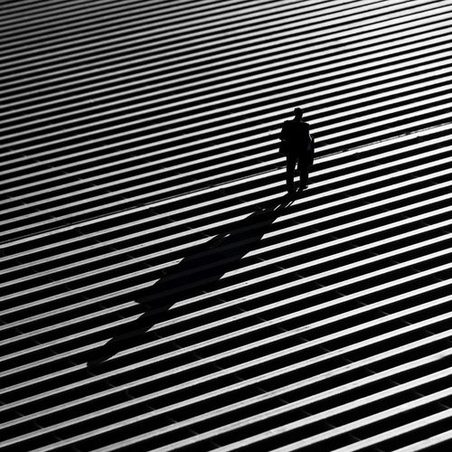 High angle view of silhouette people walking on footpath