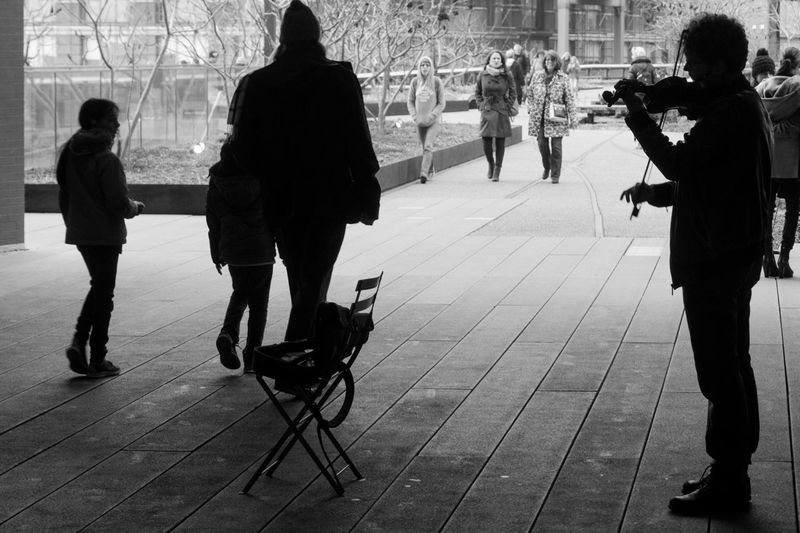 Violinist Black And White Photography Light And Shadow Silhouettes Rule Of Thirds Violinist Chair People Candid 365project Sony A6000