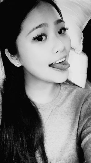 Selfie Hi! Tongue Out Black And White