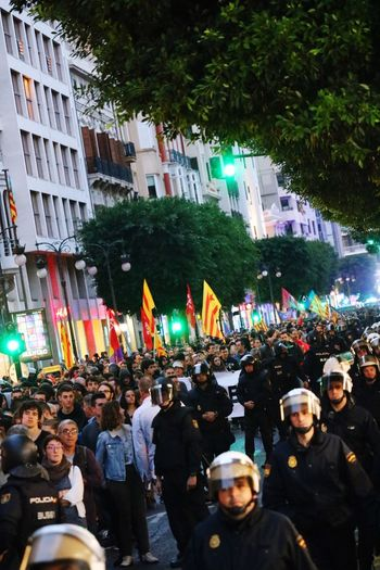 Police Force Valencia, Spain Manifestation SPAIN Group Of People Crowd City Large Group Of People Building Exterior Architecture Street Real People Outdoors