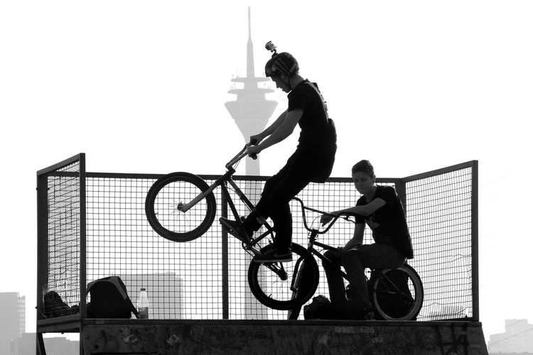 Halfpipe, Düsseldorf, Germany, Bicycle Black And White Blackandwhite Bmx  Düsseldorf Halfpipe Rheinturm  Youth Of Today Celebrate Your Ride Monochrome Photography CyclingUnites