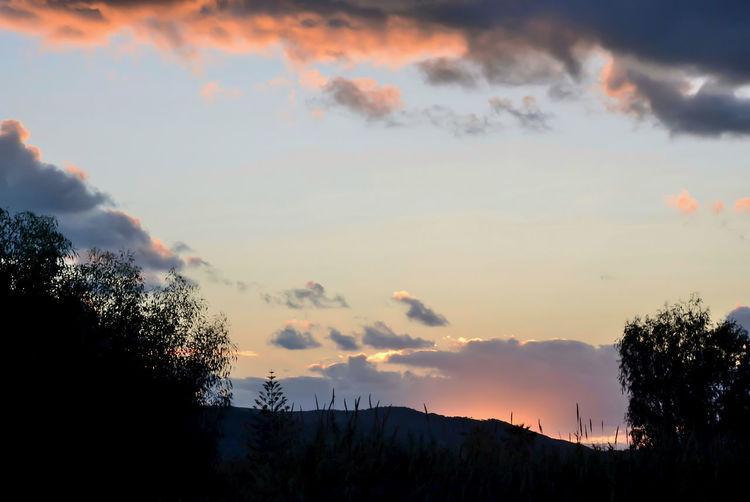Beauty In Nature Cloud - Sky Idyllic Landscape Nature Orange Color Outdoors Silhouette Sky Sunset