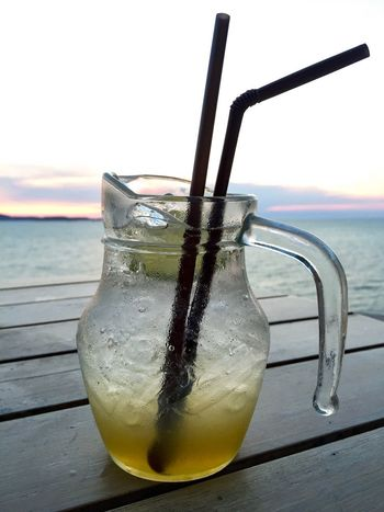 Lemon Lime Drink Refreshment Drinking Glass Water Sea Food And Drink Table Ice Cube Freshness Beach Close-up