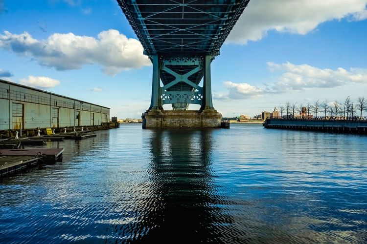 Bridge - Man Made Structure Connection Architecture Built Structure Engineering Sky Cloud - Sky Water Transportation Waterfront River Day Outdoors No People Building Exterior Nature